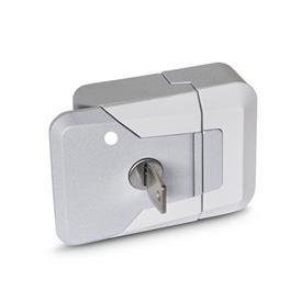 GN 936 Cerrojos de presión / cierres de presión de zinc fundido, con o sin cerradura Tipo: SCL - Bloqueable (misma cerradura)<br />Color: SR - Plateado, RAL 9006, acabado texturizado