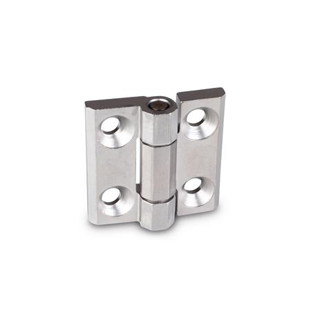 GN 237.3 Stainless Steel Heavy Duty Hinges, with Countersunk Bores, with or without Centering Guides Material: NI - Stainless steel Type: A - With bores for countersunk screws Finish: GS - Matte shot-blasted finish