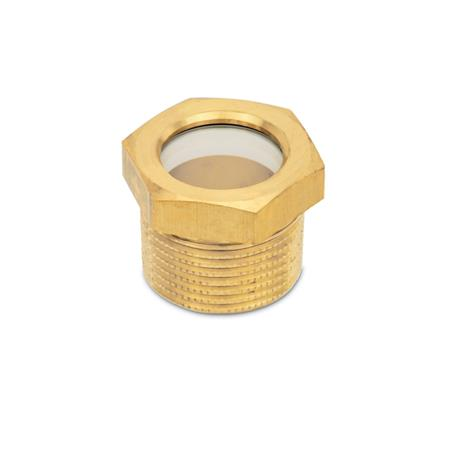 GN 743.7 Brass Fluid Level Sight Glasses, with Natural Float Glass, BSPT or NPT Threads Type: B - Without reflector