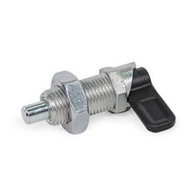 GN 612.8 Zinc Die-Cast Cam Action Indexing Plungers, Lock-Out Type: AK - With lock nut