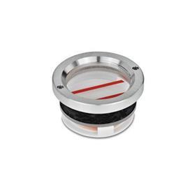 GN 537 Aluminum Fluid Level Sight Glasses, with Limit Indicator, without Thread Tipo: B - con marcas de nivel de aceite máx. / mín.
