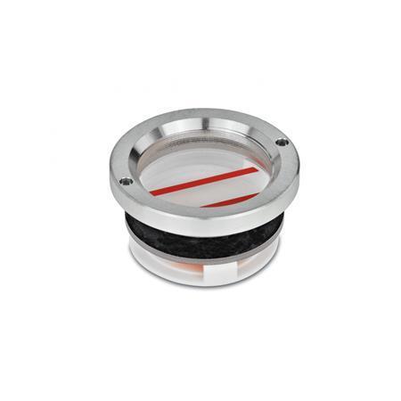 GN 537 Mirillas de nivel de líquido, de aluminio, con indicador de límite Tipo: B - con marcas de nivel de aceite máx. / mín.