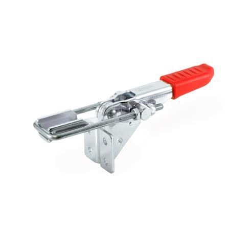 GN 851.2 Steel Horizontal Latch Type Toggle Clamps, with Vertical Mounting Base Type: T4 - With U-bolt latch, with catch