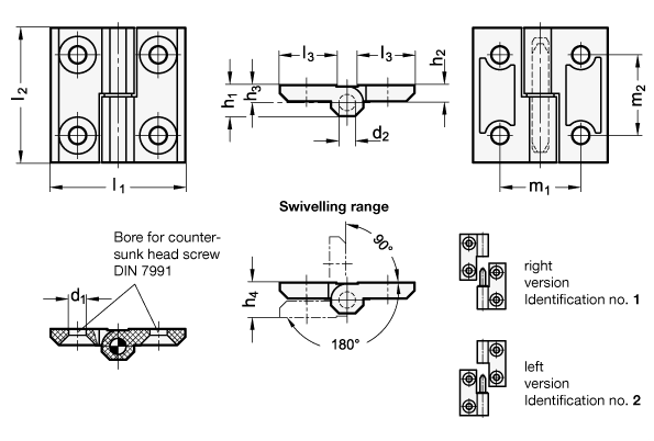 EN 337.1 Technopolymer Plastic Lift-Off Hinges, with Countersunk Thru Holes sketch
