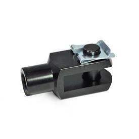 GN 751 Articulación de horquilla de aluminio, con seguro de retención del eje Material: AL - Aluminio<br />Tipo: SL - Pasador con clip de seguridad (solo para d1 = 4...16)