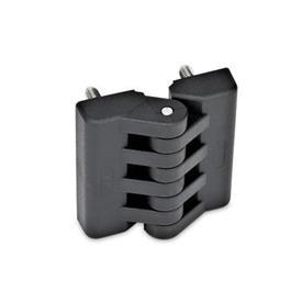 EN 151 Bisagras de plástico, diversos tipos de montaje Tipo: D - 2x2 espárragos roscados