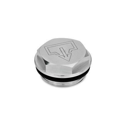 GN 741 Tapones de carga / drenaje, de aluminio, con símbolos de carga y drenaje «DIN», con sello de NBR, con o sin agujero para ventilación de aire Tipo: AS - con símbolo de drenaje DIN, sin mecanizar Identificación núm.: 1 - sin perforación para ventilación