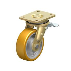 LS-GTH Rodajas giratorias con banda Extrathane® de servicio pesado con construcción soldada de acero, con montaje de base, serie de diseño de cabezales giratorios extra resistentes Type: K-ST