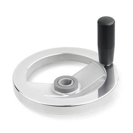 GN 322.4 Aluminum Two Spoked Safety Clutch Handwheels, with Friction Bearing  Type: D - With revolving steel handle