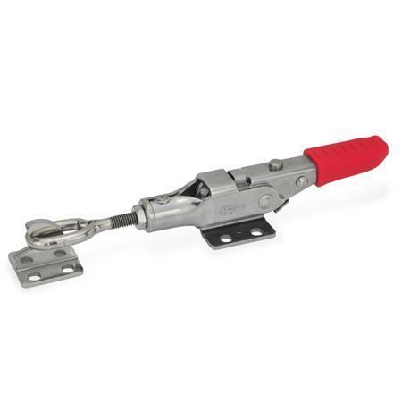 GN 853 Abrazaderas de palanca tipo pestillo de acero inoxidable, con mecanismo de bloqueo Tipo: TG - Con perno de cierre de cabeza ovalada, con soporte de cierre