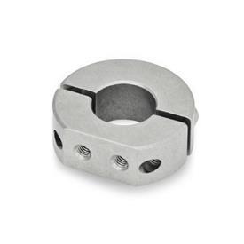 GN 7072.1 Collares de fijación partidos de acero inoxidable, con agujeros de fijación roscados Tipo: A - Agujeros de fijación roscados, radiales