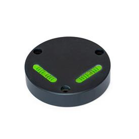GN 2276 Aluminum Cross Spirit Levels, with Mounting Holes Sensitivity: 50 - Angular minutes, bubble moves by 2 mm<br />Type: AV - Aligned, mounting from the front<br />Color: ALS - Anodized finish, black