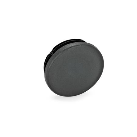 EN 991 Metric Size, Plastic Tube End Plugs, Round or Square, for Construction Tubings Diameter d: D 40 Color: SW - Black, RAL 9005, matte finish