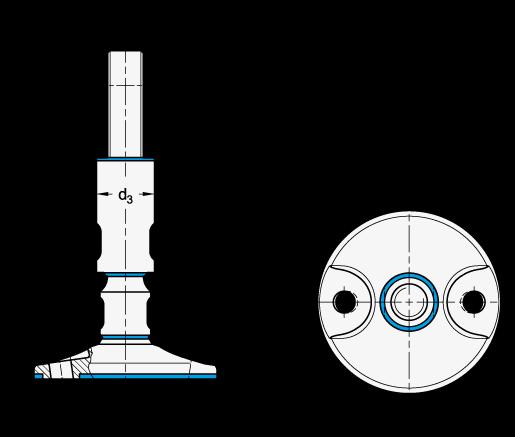 GN 20 Pies de nivelación con diseño higiénico de acero oxidable, con orificios de montaje boceto