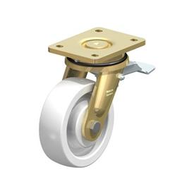 LS-SPO Steel Heavy Duty White Nylon Wheel Swivel Casters,  with Plate Mounting, Welded Construction Series Type: K-ST - Ball Bearing with Stop-Top Brake