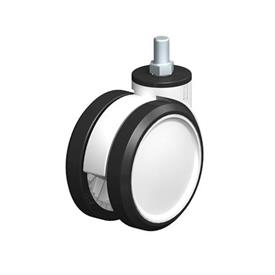 LKDG-PUA Nylon Plastic Twin Wheel Swivel Casters, with Threaded Stem Type: G - Plain Bearing