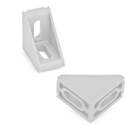 EN 561 Escuadras de montaje, plástico tecnopolímero, medidas métricas, tipo A Tipo de pieza angular: A - 2 agujeros ranurados b2, sin guías Identificación núm.: 1 - sin cubierta
