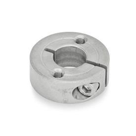 GN 7062.2 Collares de fijación semipartidos de acero inoxidable, con agujeros de montaje Tipo: C - Con dos agujeros roscados