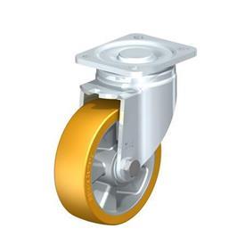 LH-ALTH Rodajas giratorias de acero con banda Extrathane® de servicio pesado, con placa de montaje, serie de soportes de servicio pesado Type: K - Cojinete de bolas