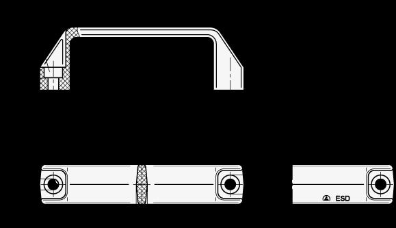 EN 528 Jaladeras en «U» para gabinete de plástico tecnopolímero, con agujeros de montaje avellanados boceto
