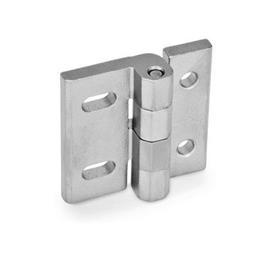 GN 235 Bisagras de acero inoxidable, ajustables Material: NI - Acero inoxidable<br />Tipo: DB - Con agujeros pasantes y ranuras horizontales<br />Acabado: GS - Acabado granallado mate