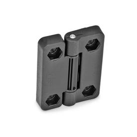 EN 222 Technopolymer Plastic Hinges with 4 Indexing Positions Type: EH - 2x2 bores for hexagon screws