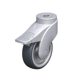 LWGX-TPA Nylon Plastic WAVE Synthetic Swivel Casters, with Thermoplastic Rubber Wheels and Bolt Hole Fitting, Stainless Steel Components Type: G-FI - Plain Bearing with Stop-Fix Brake