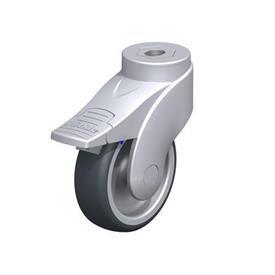 LWGX-TPA Rodajas giratorias de nylon plastificado sintético WAVE, con ruedas de caucho termoplástico y ajuste con agujero para perno, componentes de acero inoxidable Type: G-FI - Cojinete liso con freno «stop-fix»