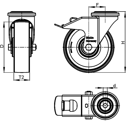 LKRXA-TPA Stainless Steel Light Duty Swivel Casters with Thermoplastic Rubber Wheels and Bolt Hole Fitting, Heavy Bracket Series  sketch