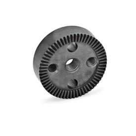 GN 187.4 Placas de bloqueo dentadas de acero sinterizado Tipo: C - con agujero roscado en el centro, con dos agujeros de montaje roscados