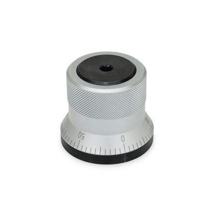 GN 200 Steel Indexing Mechanisms Type: AS - With knob, matte chrome plated finish, with scale 0...50, 60 graduations