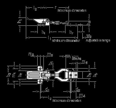GN 831.1 Pestillos de palanca, de acero / acero inoxidable, sin soporte de cierre de seguridad boceto