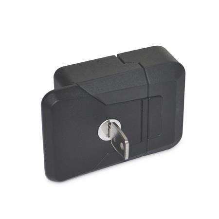 GN 936 Pestillos con cierres de presión, con o sin cerradura Tipo: SCL - Bloqueable (misma cerradura) Color: SW - Negro, RAL 9005, acabado texturizado