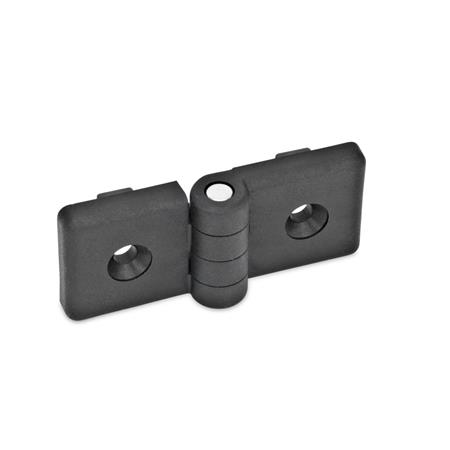 EN 159 Plastic Hinges, For Use with Profile Systems Color: SW - Black, matte finish Test <sub>1</sub>: 84
