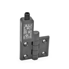 EN 239.4 Bisagras de plástico con interruptor integrado, con clavija conectora M12x1 Identificación: SL - Orificios para tornillo avellanado, interruptor a la izquierda<br />Tipo: AS - Conector en la parte superior