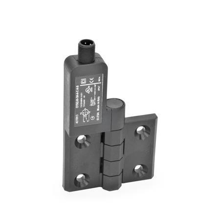 EN 239.4 Bisagras de plástico tecnopolímero con interruptor integrado, con clavija conectora M12x1 Identificación: SL - Orificios para tornillo avellanado, interruptor a la izquierda Tipo: AS - Conector en la parte superior