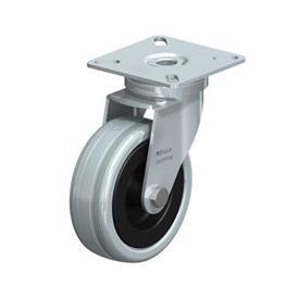 LPA-VPA Rodajas giratorias de acero con ruedas caucho gris de servicio ligero, con placa de montaje, serie de soportes estándar Type: G - Cojinete liso