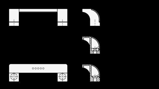 EN 630.1 Jaladeras en «U» abiertas, inclinadas Ergostyle® de plástico tecnopolímero, con agujeros pasantes avellanados boceto