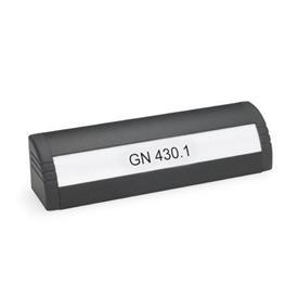 GN 430.1 Jaladeras trompa de elefante de aluminio, con sección para inscripciones  Acabado: SW - Negro, RAL 9005, acabado texturizado