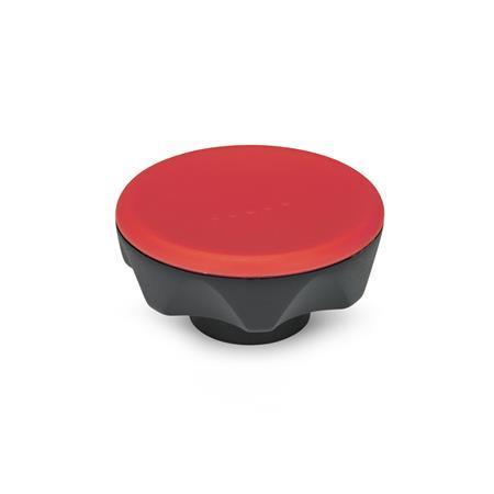 EN 636 Perillas de siete lóbulos Ergostyle® de plástico tecnopolímero, con inserto roscado o liso Tipo: C - Con orificio ciego liso, tol. H9 Color: DRT - Rojo, RAL 3000, acabado mate