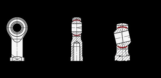 DIN 648 Cabezas de articulación autolubricantes, de acero, tipo roscado boceto