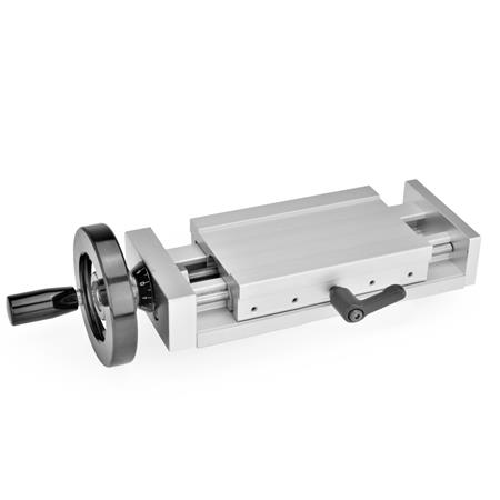 GN 900 Aluminum, Adjustable Slide Units Identification no.: 2 - With adjustable hand lever Type: H - with handwheel