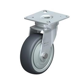 LPA-TPA Steel Light Duty Swivel Casters, with Thermoplastic Rubber Wheels and Plate Mounting, Standard Bracket Series Type: K-FK - Ball Bearing with Thread Guard