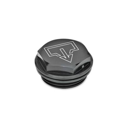 """GN 741 Aluminum Fill / Drain Plugs, With """"DIN"""" Fill and Drain Symbols, with NBR Seal, with or without Air Vent Hole Type: ASS - with DIN drain symbol, black anodized Identification no.: 2 - with vent drilling"""