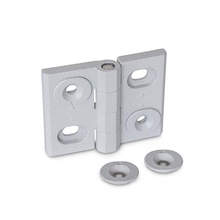 GN 127 Zinc Die-Cast Adjustable Alignment Hinges, with Alignment Bushings Type: B - Horizontal slots Color: SR - Silver, RAL 9006, textured finish