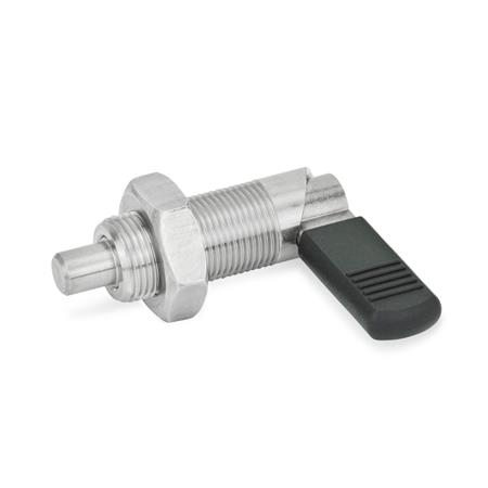 GN 612 Stainless Steel Cam Action Indexing Plungers, Lock-Out Type: BK - With plastic cap, with lock nut Material: NI - Stainless steel