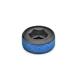GN 252 Steel Threaded Plugs Type: PRB - With thread coating (Polyamide allround coating)
