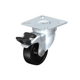 LPA-POA Rodajas giratorias de acero con rueda de nylon negro, con placa de montaje, serie de soportes estándar Type: G-FI - Cojinete liso con freno «stop-fix»