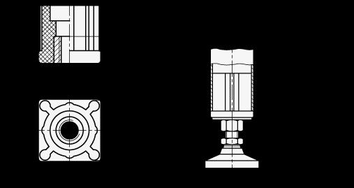 EN 448 Terminales de plástico roscadas para tubos, tipo cuadrado con inserto moldeado boceto