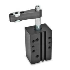 GN 875 Aluminum Pneumatic Swing Clamps, Rectangular Block Style Type: A - Clamping arm with slotted hole and two flanged washers